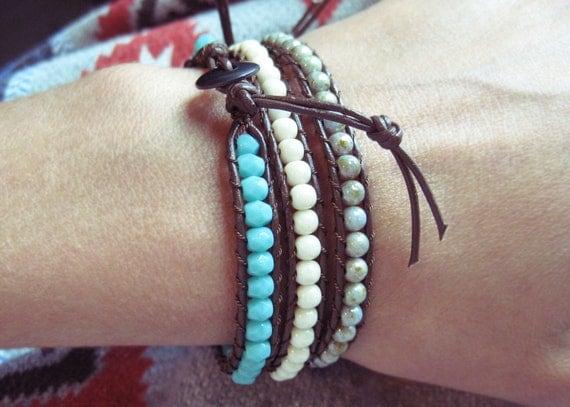 Leather Bracelet. Cream and Brown tribal inspired. Beaded Jewelry. Leather wrap bracelet. Boho Bohemian jewelry
