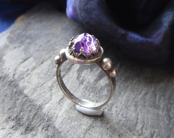 rose cut amthyst sterling silver crown ring