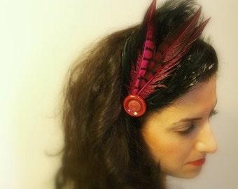 Magenta Feather Headband, Modern, Retro, Avant Garde Headpiece, Black Band, Vintage Button