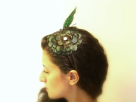 Floral Feather Headband, Green, Black, Brown Avant Garde Headpiece