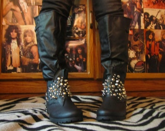 Spiked Studded Leather Black Riding Boots