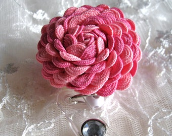 Rickrack Rosette Flower I.D. Badge Holder with Alligator or Slide Metal Clip in Colored Pink