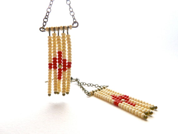 Navajo cream and red earrings ( indian, native, beaded, rug, totem, french, wild,  inca, southwest ) 03