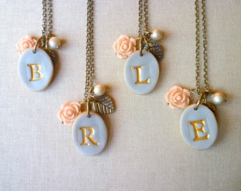 Bridesmaid necklace - Gray Rose and Pearl Romantic Letter - Set of 4