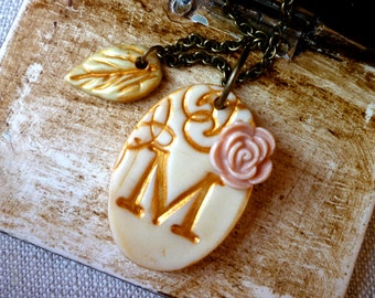 Initial Necklace - Ivory and gold Romance