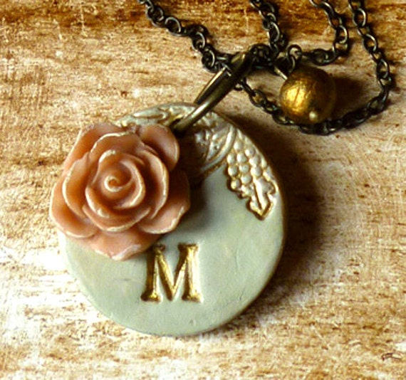 Custom Letter Necklace, Vintage necklace, feminine jewelry, bridesmaid necklace, Downton Abbey Inspiration, letter flower initial