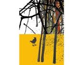 Art print digital mixed media Bird in the wood home office decor  woodland trees black white yellow blackbird autumn fall