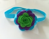 Lime ,purple and turquoise felt flower headband - baby headband