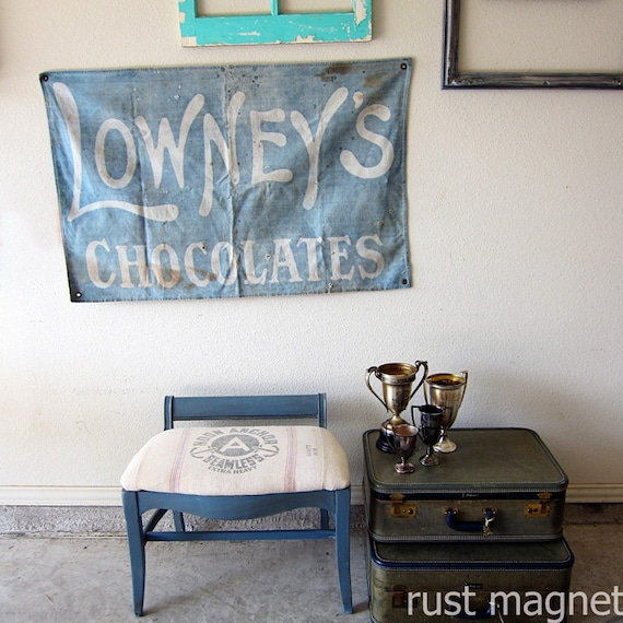 Antique Lowney's Chocolates Display Banner from 1900s Gorgeous White and Blue Sign