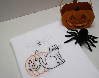 Dish Towel - Kitchen Towel - Tea Towel - Halloween, Jackolantern, Ghost, Black Cat - Hand Embroidered Cotton Flour Sack