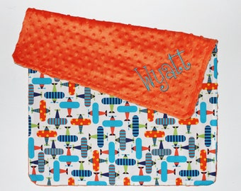 PERSONALIZED Baby Boy Airplanes Stroller Blanket  - Orange Dot Minky
