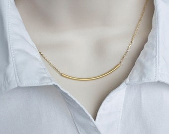 Gold Tube Necklace - Gold Plated Matte Tube Necklace, Everyday Wear, Casual, Simply and Modernist Necklace
