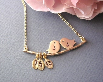 Personalized Gold Love Birds Necklace- Valentine, mom, anniversary, engagement gift, original design by ACutieChick.