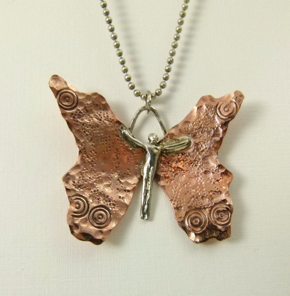 Chloe Is Becoming - Repurposed Sterling, Copper, And PMC - Art Jewelry Pendant - 862