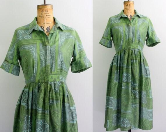 1950s shirtwaist dress / 50s cotton dress / green shirt dress medium