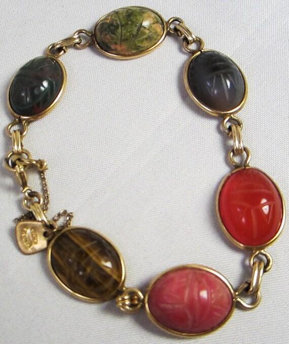 Vintage Scarab Bracelet,Tiger Eye, Jade, Carnelian Zoazite, Rose, Vintage 1940s Bracelet, D'Abros 1/20 12K GF