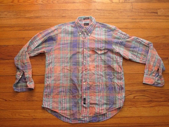mens vintage gant indian madras button down shirt