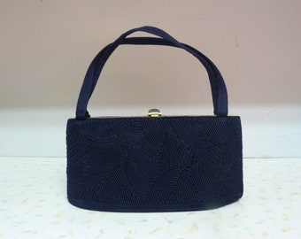 Vintage Navy Blue Handbag Formal / Vintage Evening Bag Handbag