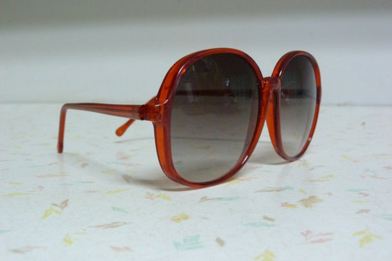 Vintage Red 1970's Sunglasses Oversized Bright Red Vintage Retro Sunglasses