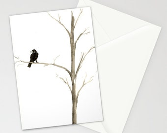 Raven Ink Painting - Minimalist Crow Art - Fine Art Card