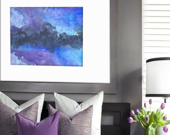 Watercolor Painting - Abstract Art - Enrapture Blue Atmospheric Sky Painting