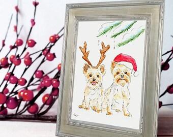 Christmas Portrait - Original Holiday Pet Portrait Watercolor Illustration - Custom Dog Art