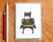 Fat Batman - Birthday card, superhero card