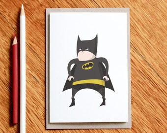 Fat Batman - Birthday card, superhero card