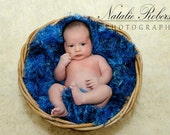 Blue Photography Props Blue Fur Baby Blanket  and Baby Blue Baby Shower Gift