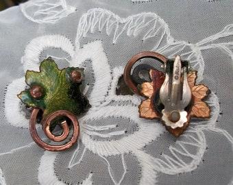 Matisse FOLKLORE Signed Leaf Earrings Copper & Green Enamel