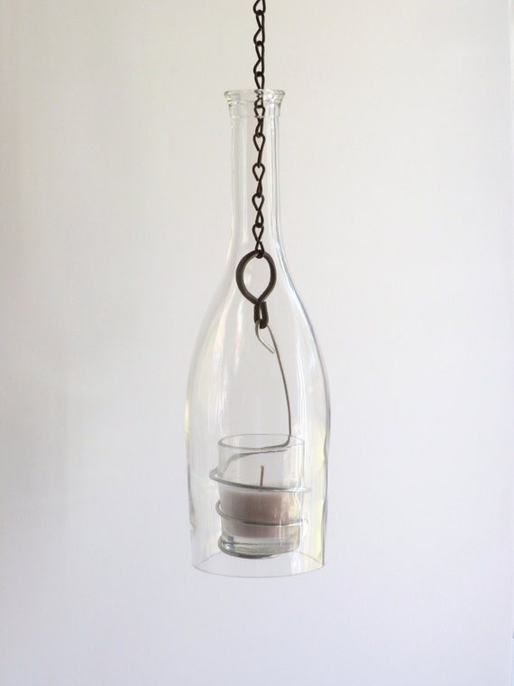 clear wine bottle glass candle holder hanging by bomolutra