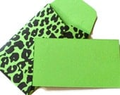 Mini Valentines Green Leopard Print mini envelope set of 20 business card size envelopes perfect for tagging Christmas gifts