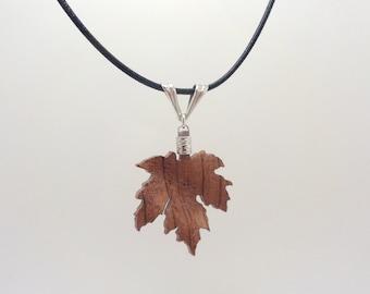 Bubinga Wood / Sterling Silver / Maple Leaf Necklace