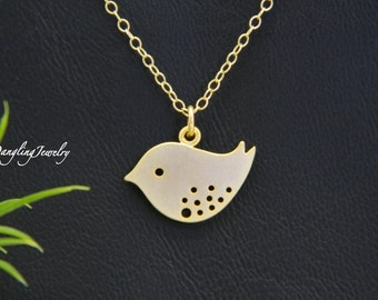 Gold Bird Necklace, Children Necklace, Baby Bird Charm, Mod, Bird Jewelry, Flower Girl Gift, Christmas Gift, Simple, Minimal