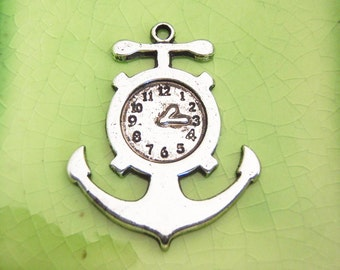 5 silver anchor clock charms pendants Alice in Wonderland Peter Pan Captain Hook pirate ship pocket watch hands time 38mm x 30mm - C0752-5