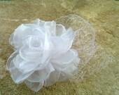 White Wedding Hair Flower Rose,Bridal Fascinator with birdcage veil ,Wedding Hair Accessories,, Fascinator Pearls Bride Headpiece