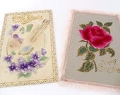 2 Antique Christmas Postcards - EMBOSSED