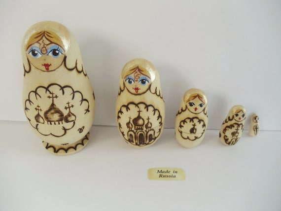 Vintage RUSSIAN NESTING DOLL Set - Matryoshka Wood Burning Technique - Made in Russia - Collectible