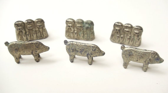 6 Vintage Metal/Pewter Charms Miniature Collectibles - Pig - Hear/See/Speak No Evil Monkey set
