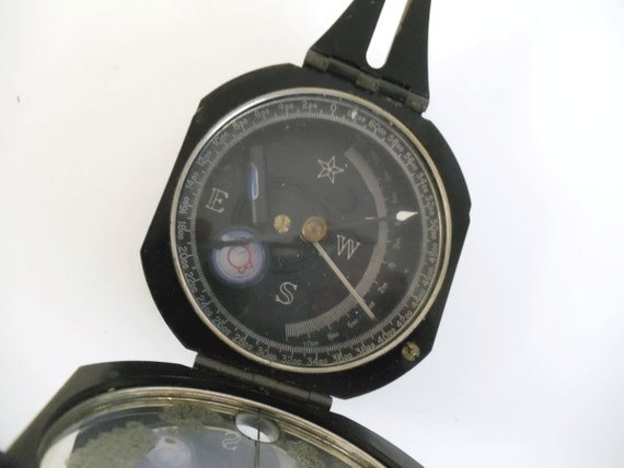Vintage M2 Artillery Compass with Case - WWII Army - Collectible - Souvenir - Gift for Him