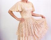 s a l e 1950s Lace Dress / 50s Blush Dress / Layered