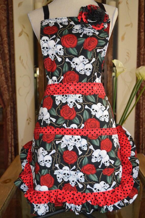 Womens Full and Half Dios Los Muertos-Red Skull Retro 3in1 Reversible Bib Apron