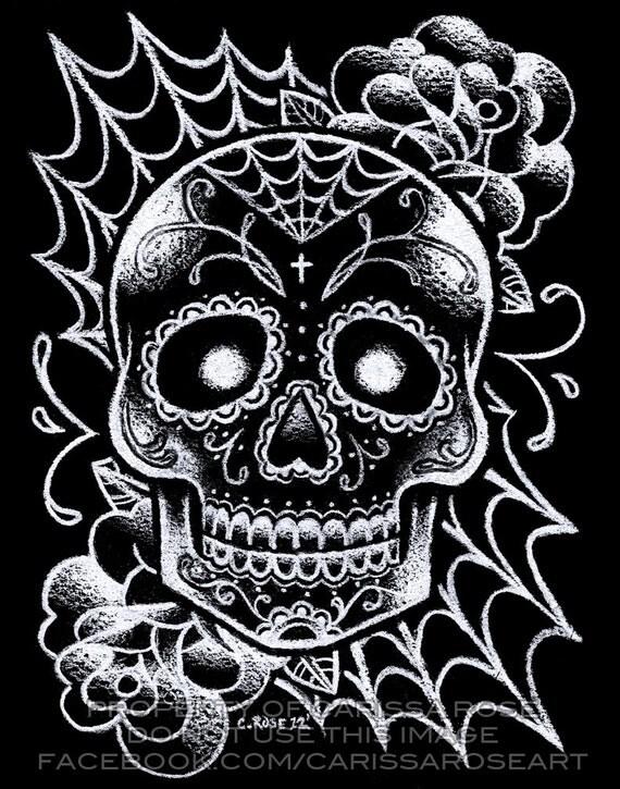 Tattoo Flash Art Black And White Guitar: Sugar Skull Tattoo Art Signed Print Black And White Day Of