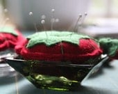 Not Your Grandma's Tomato Pincushion - Felted Wool and Glass