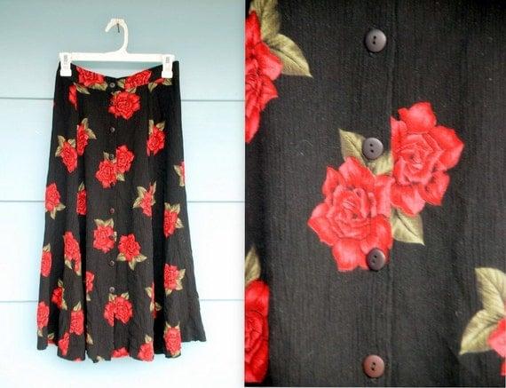 1990s. black gauze. rose midi skirt.