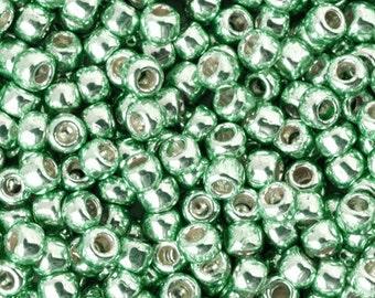 Seed Beads-11/0 Round-PF570 Permanent Finish-Galvanized Mint Green-Toho-16 Grams