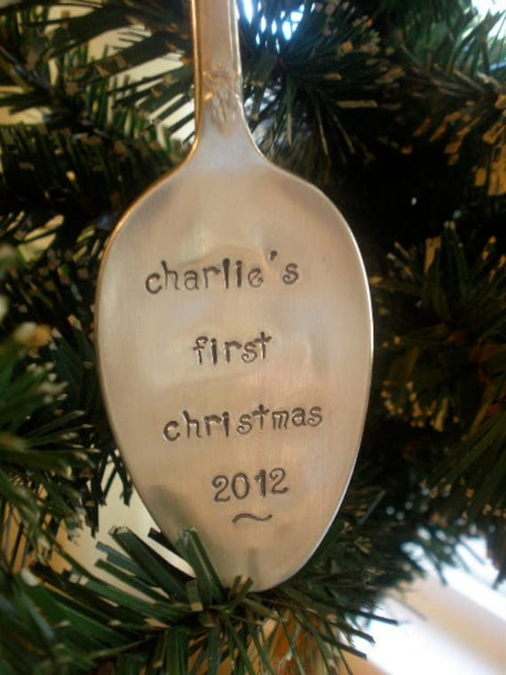 Personalized Ornament - Baby's First Christmas Vintage Spoon - Hand Stamped