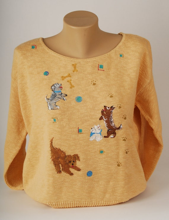 """Hand Painted 100% Cotton Sweater """" Any Dog'l Do""""  Dogs playing on Hay.  Dog bones, pawprints, Mixed Breed, Adopt Don't Shop! Dog Lover Gift!"""