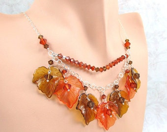 Burnt Orange Smoke Topaz Crystal Leaf Silver Necklace
