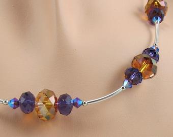 Copper Purple Necklace Swarovski Crystal Sterling Silver